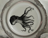 Gold or Silver Octopus Plates, Sea Life Plates, Nautical Plates, Squid Plates, Octopus China, Kraken Plates,  Sea Monster Plates, Aquatic