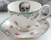 Green Floral Skull OR CUSTOM Tea Cup and Saucer Set, Skull Tea Set, Goth lHigh Tea, Skull Teacup, Custom Mug, Personalized Teacup, Monogram