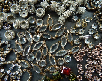 Bargain de-stash lot of rhinestone chain rondelles charms cabs