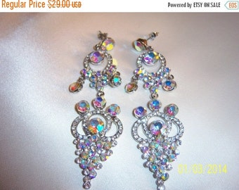 SALE Runway Statement Bridal/Wedding Aurora Borealis Pierced Earrings