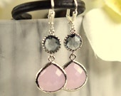 Pale Pink and Charcoal Jewel Bridesmaids Earrings in Silver. Drop. Dangle.  Pink Gray Bridesmaid Dangle Earrings. Jewelry Gift Her.  Gift.