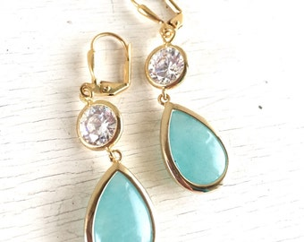 Aqua Teardrop and Clear CZ Dangle Bridesmaid Earrings in Gold.  Drop Earrings. Turquoise Dangle Earrings. Bridal Party Jewelry.