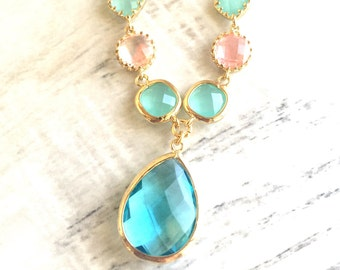 Aquamarine and Pink Jewel Pendant Statement Necklace in Gold.  Unique Fashion Necklace.  Turquoise Aqua and Gold Jewel Necklace.