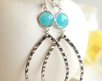 Large Open Drop Silver Statement Earrings with Turquoise Stones. Jewelry. Turquise Statement Earrings in Silver. Statement Jewelry.