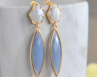 White Turquoise Post Earrings with Blue Jade Drops. Bridesmaid Earrings. Drop Earrings. Gold Fashion Earring..