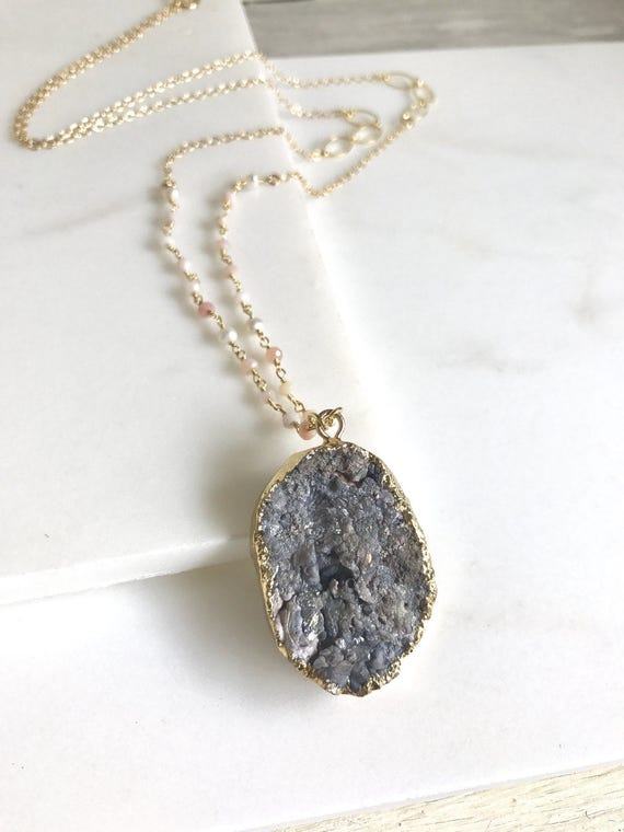 Long Druzy Necklace. Geode Necklace. Druzy Jewelry. Long Boho Necklace. Grey Druzy and Pink Opal Beaded Necklace.  Chunky Necklace. Gift.