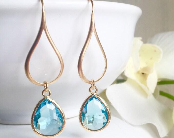 Gold Aquamarine Drop Earrings.  Aquamarine Teardrop Drop Earrings.  Gift for Her.  Dangle Earrings. Modern Drop Earrings. Christmas Gift.