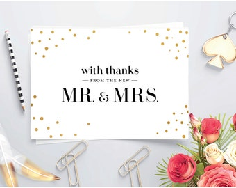 Newlywed thank you  ~ Printable Thank you card ~ Gold foil ~ Folded card ~ Thank you card for Wedding gift ~ Mr and Mrs  ~  New Mr and Mrs