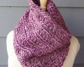 50% Clearance SALE / CHEROKEE Cowl, Chunky Infinity Cowl, Hooded Cowl - Berries - Wool Blend