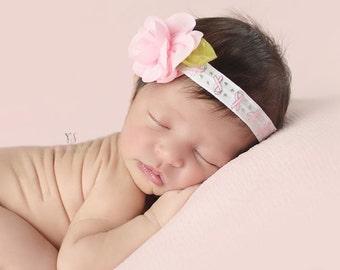 Breast Cancer Awareness Headband, Baby Headband, Pink Cancer Headband, Survivor Support Headband, Stretchy Headband with Chiffon Rose