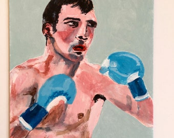 Original art // portrait painting // Boxer El Potro // original painting // sports illustration on art board // boxing painting