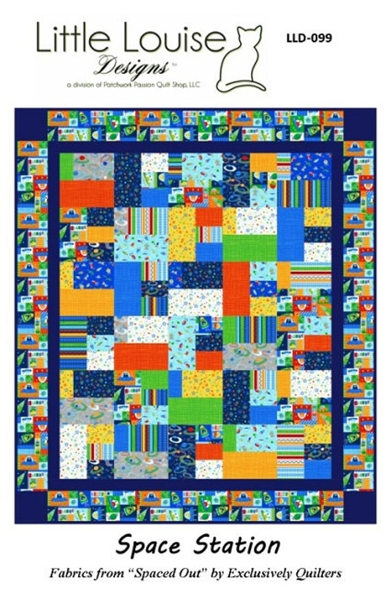 Quilt pattern space station pdf instant download crib for Space quilt pattern