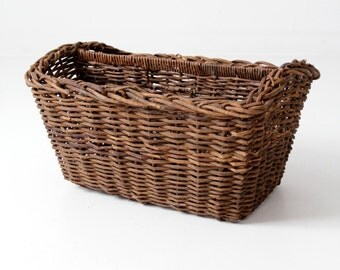 antique basket, two compartment divided gathering basket
