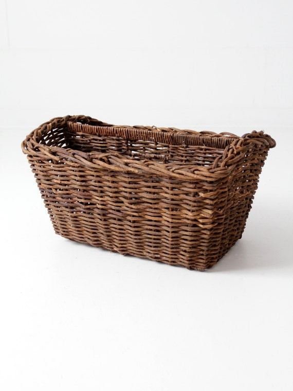 Antique Basket Two Compartment Divided Gathering Basket