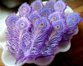 PEACOCK FEATHER SOAP - Set of 10 Plumage of Feathers, Peacock Feathers, Feather Soap, Bird Feathers, Custom Scented, Handmade
