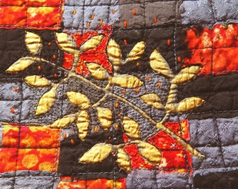Original Textile Art, 8 x 10, red black gold art, Modern Embroidery, Wall Decor, Contemporary Fiber Art, golden leaf, warm bold colors art