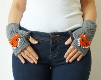 VALENTINES DAY GIFT Fox Gloves Fox Fingerless Fox Mittens Winter Gift Gift For Her Animal armwarmrs Crochet Fox Mittens Gray Fingerless