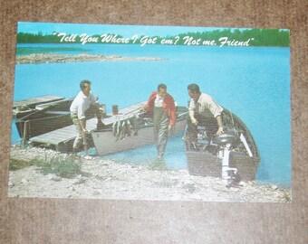 Humorous Fishing Postcard, Tell You Where I Got 'em?