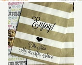 XOXO SALE 140 Personalized Gold Stripe Candy Bags, Custom Printed Wedding Favor Bags, Enjoy with Heart