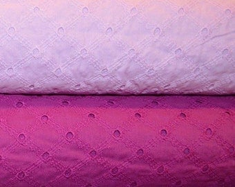 Michael Miller. Lattice Eyelet in Peony and Jewel Fabric BTY - Choose Your Cut and Color