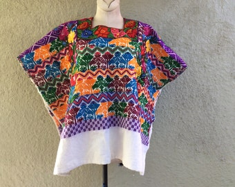 Vintage Huipil - Hand woven Caftan Top - Hand woven Bright Guatemalan Embroidery