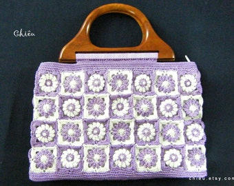 Granny Square Crochet bag Purple and White pop bobble flower motif crochet wooden handle handbag polyester thread