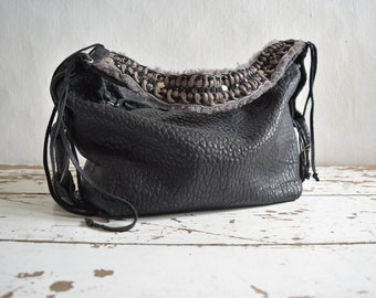 Black and Grey Slouchy Pebbled Leather Hobo Purse . Woven Leather Strap Detail - Made to Order