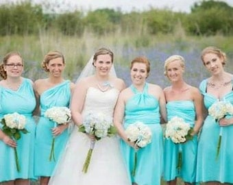 Aqua Blue Convertible Wrap Twist Knee Length Dress...37 Colors... Bridesmaid Dress, Beach Wedding, Rustic Wedding