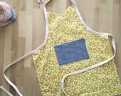 SALE KIDS APRON floral yellow toddler bib, baking, dress-up, girls art smock, with chambray pocket