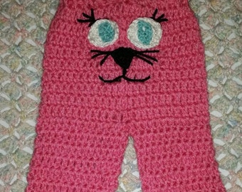 SALE--Ready to Ship--Pink Kitten Pants--Crochet Baby Pants