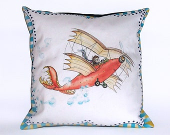 Children's Fairy Tale Pillow Cover - Airbook Plane