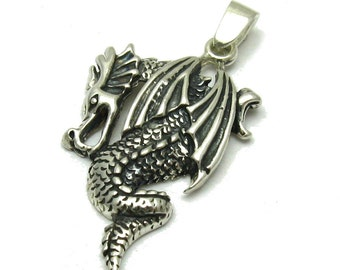 PE001061 Sterling silver pendant  solid 925 Dragon