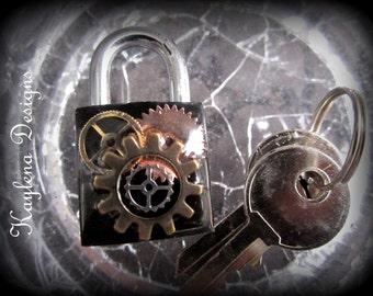 Steampunk , Gears, Square Lock, lock, BDSM Lock, lock and key, locking Jewelry