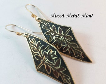 Brass Black Red Asymmetrical Golden Earrings Long Mixed Metals Recycled Metal Upcycled Mixed Metal Mimi One of a Kind  Flower pattern E-046