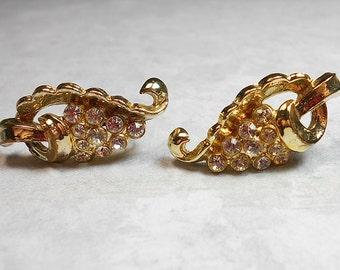 Vintage Rhinestone Earrings Coro Gold Tone Screw Back