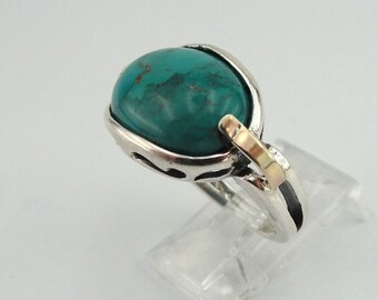 925 Turquoise ring, Handcrafted 9k yellow gold & 925 sterling Silver ring, Size 7 (ms r124)