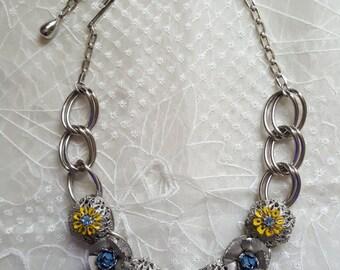 Unusual Floral Mid Century Necklace