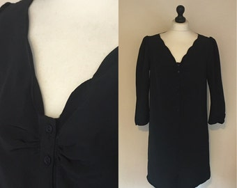 vintage black scalloped neck dress. UK 10