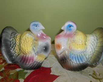 Turkey Hen and Tom Salt and Pepper Shakers Japan 1950s  XL extra Large Thanksgiving Harvest S P vintage
