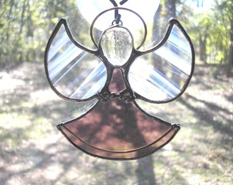 LT Stained glass light mauve Angel sun catcher light catcher window hanging ornament
