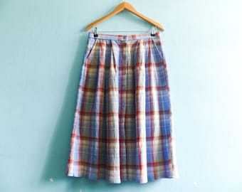 Vintage summer skirt / buttoned up down / checkered check checked / pastel blue pink / high waist / midi / medium