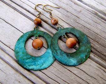 Patina Earrings Verdigris Earrings Verdigris Hoop Earrings Sandalwood Metal Earrings Rustic Jewelry Tribal Earrings Gypsy Earrings Sale