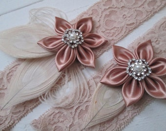 Rose Gold & Blush Lace Wedding Garter Set, Ivory Peacock Garters, Rustic Bridal Garter, Champagne Garter, Vintage-Country Bride