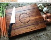 10% OFF THRU FEB Personalized Engraved Artisan Chopping block - Mahogany + Walnut and Paduk - Wedding Gift, Gift for Home, Personalized Gift
