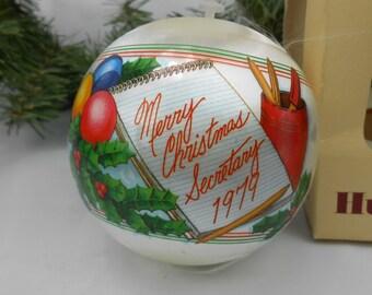 Vintage Hallmark Hummelwerk Secretary Christmas ornament unbreakable satin ball hummel  Merry Christmas Secretary 1979 in original box