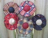 Primitive July 4th Plant Pokes - Americana Flowers - Set of 5 - Crock Pokes - Patriotic Fabric Grungy Bouquet - Spring/Summer Home Decor
