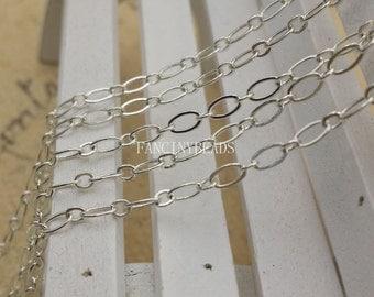 Quantity 10 meters-BulkSale-33 feet fabulous oval loop silver brass chain- -F1244