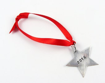 2017 Ornament - Silver Christmas Star Custom Hand Stamped with Year for Holiday Tree Decor