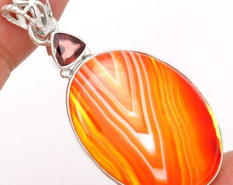 Very Beautiful Orange Botswana Agate and Garnet Pendant, One of a Kind, Abstract Design, with Organza Cord