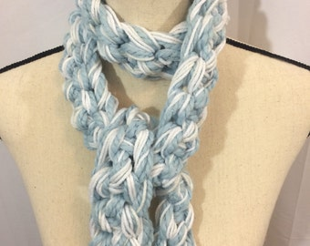 Chunky blue and white sparkly crocheted scarf